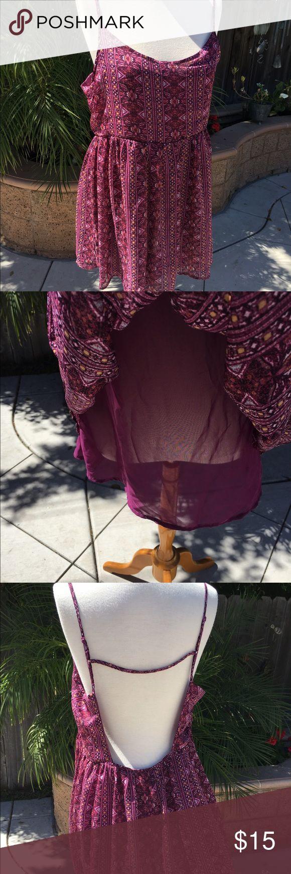 Adorable flowy summer dress NWOT purple patterned dress. Open back with adjustable straps. Full Tilt Dresses Backless