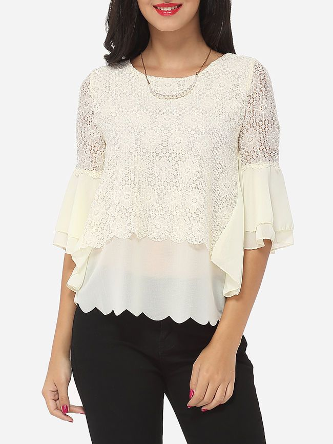 Hollow Out Lace Patchwork Plain Mandarin Sleeve Courtly Round Neck Casual-t-shirt