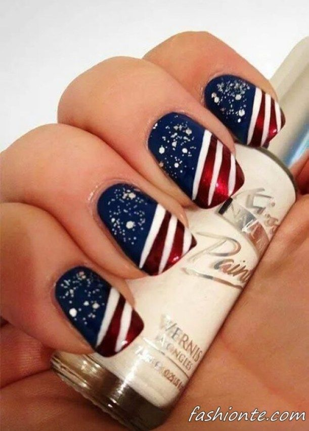 Paint the town red white and blue this 4th of July with a patriotic manicure like this one.