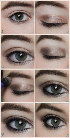 tuto maquillage marron vert, comment se maquiller les yeux