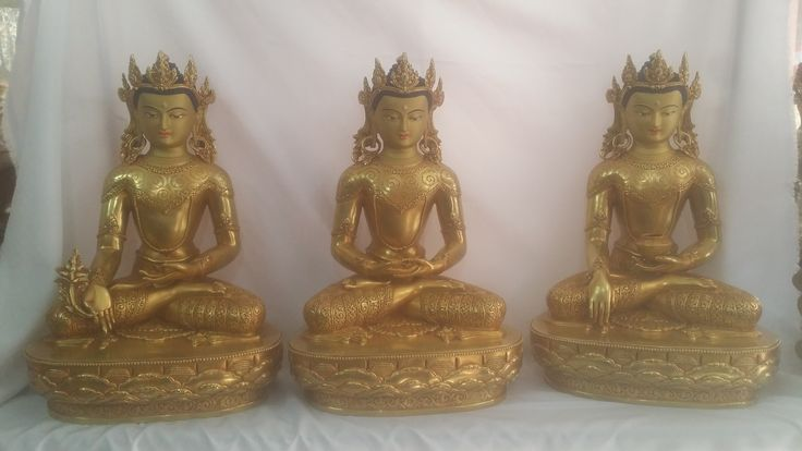 Handmade 3 set of buddha statues-full gold plated-40cm height-25.0kg weight. Price10000.0USD incl shipping. message: nepalartshop@gmail.com buddha statues for home, buddha statues uk, buddha statue garden, buddha statues for sale USA, buddha ornaments uk, buddha statues meanings, buddha ornaments for sale, large buddha statue for sale, buddha statues Australia http://www.nepalartshop.com #Buddha #Buddhist #statues #handmaden #Nepal #Kathmandu #nepalartshop