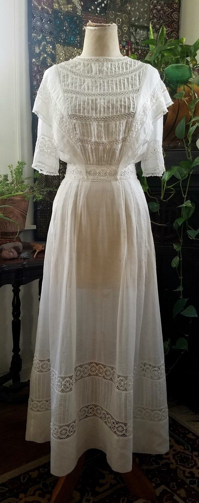 1910s Edwardian Sheer White Cotton Voile Lace Dress Gown Ruffles Antique White Cotton Lace Dress Lace White Dress White Victorian Dress [ 1600 x 635 Pixel ]