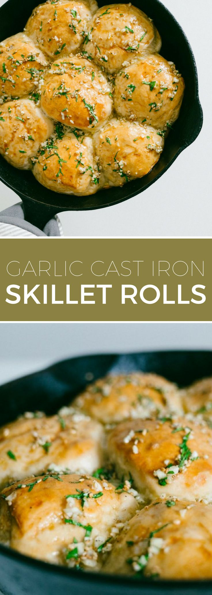 Skillet Rolls with Garlic and Parsley // Simple bread rolls baked in a cast iron skillet and topped with loads of garlic and parsley.