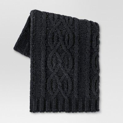 "Cable Knit Throw Blanket (50""x60"") - Dark Gray - Threshold™ : Target"