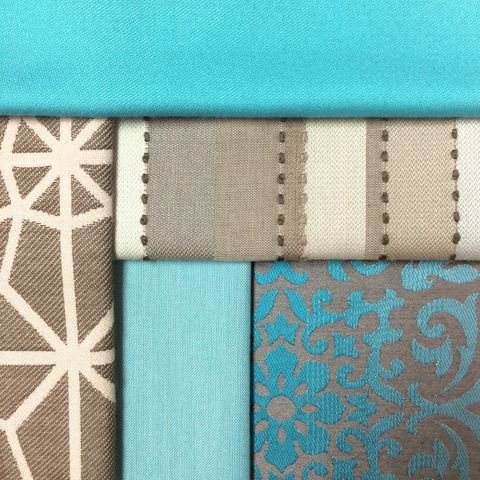 #TBT to some teal and beige!They're limited stock (since they have been discontinued; see below for available yardage), so snatch them up while you can! Check out our Alaxi and Silver State Fabric collections on our website:  https://www.silverstatetextiles.com/  See you there!  Textiles featured (top-left to bottom-right): Bueno Aruba Cathedral Cocoa Morocco Sand Heritage Pool Monaco Mist