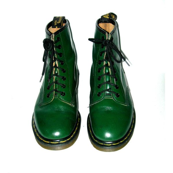 Sale- Vintage Doc Martens Green Smooth Leather 1460 -made in England-... ($99) ❤ liked on Polyvore featuring shoes, boots, ankle booties, dr martens boots, vintage booties, dr. martens, green booties and thick booties