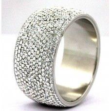 Clear - White Crystal Bracelet Bangle 14-Rows India Handmade Bridal Jewelry Swarovski Quality