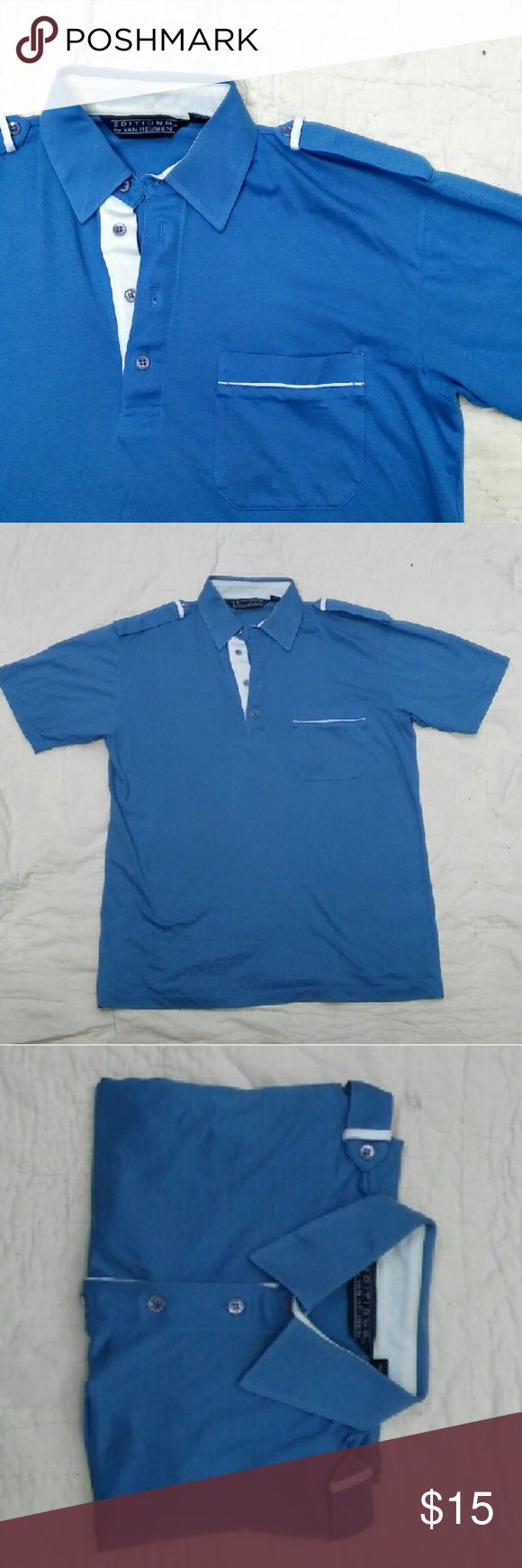 "MEN'S Van Heusen Golf Shirt Lightweight Blue Golf Shirt with Shoulder Lapels by Editions by Van Heusen. Men's Medium. In excellent used condition. From a smoke free home. Make an offer! SAVE on SHIPPING & get a DISCOUNT by making a BUNDLE! Get 20% off on 2+ items. 2for1 SCARF SALE: Buy one ""2for1"" scarf at full price and get another scarf of equal or lesser value for free! Purchase the first scarf, comment on the second scarf, & I'll ship both! Van Heusen Shirts"