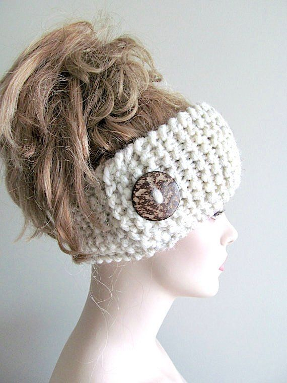 Wool Knit Headbands Button Grey Wheat Earwarmers Spring Fall Winter ...