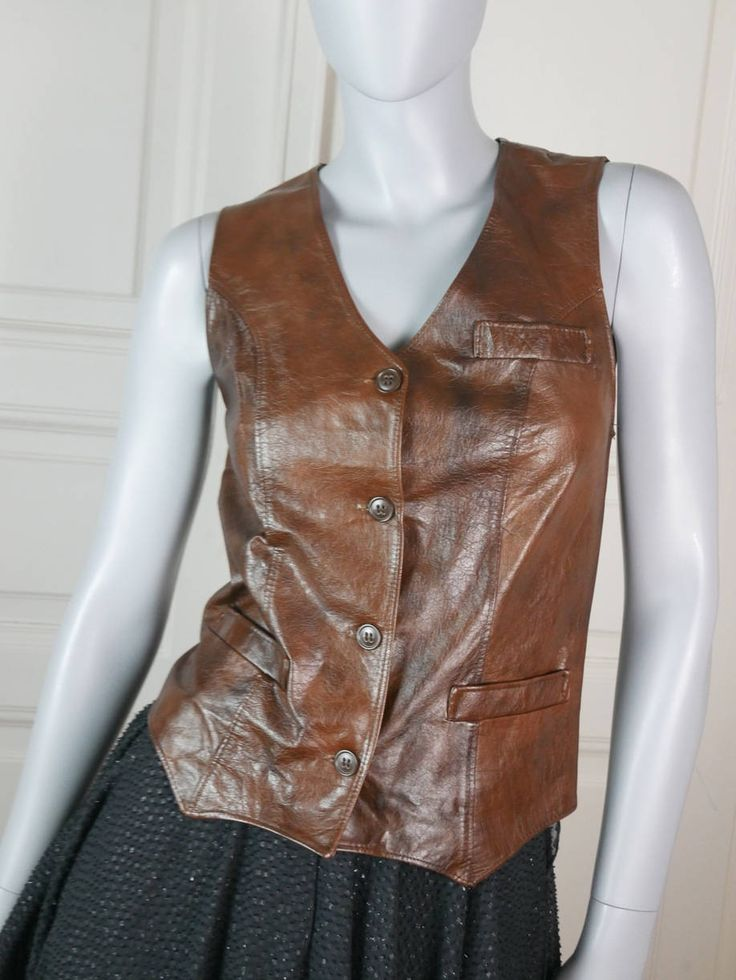 Finnish Vintage Brown Leather Vest Women's, Near Mint Rich Brown Leather Waistcoat, European Vintage Leather, Biker Vest: Size 4 US, 8 UK by YouLookAmazing on Etsy