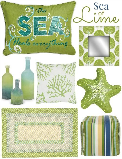 Lime Green Decor for Coastal Living at Caron's Beach House: http://www.completely-coastal.com/2016/05/lime-green-decor.html