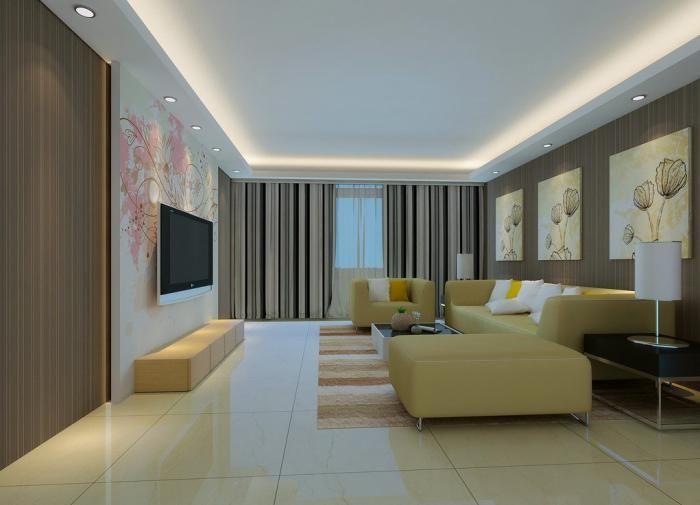 plafond lumineux, faux plafond led pour le séjour moderne