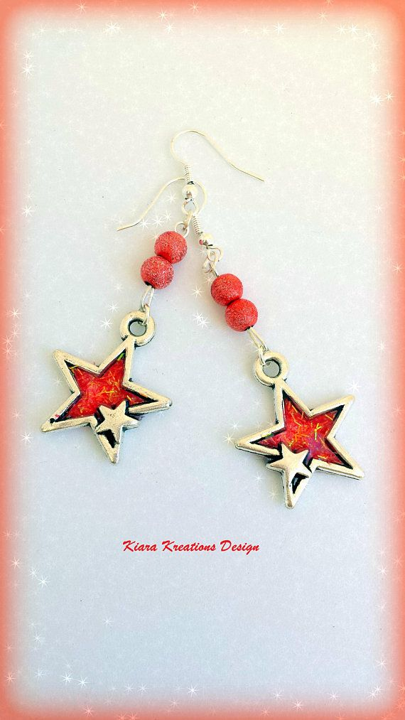 Red star earrings in resin, summer jewelry, inspirational gift, boho earrings, gift for sister, unique, beauty gift, ooak, celestial jewelry