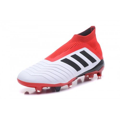 New 2018 Adidas Predator 18 FG White Red Football Shoes Online Outlet