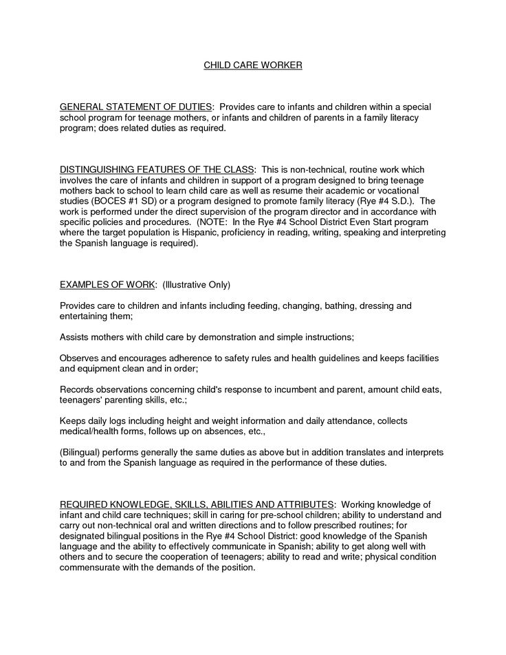 Child Care Resume Examples - - Yahoo Image Search Results
