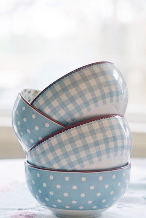 gingham & polka dot cafe au lait bowls