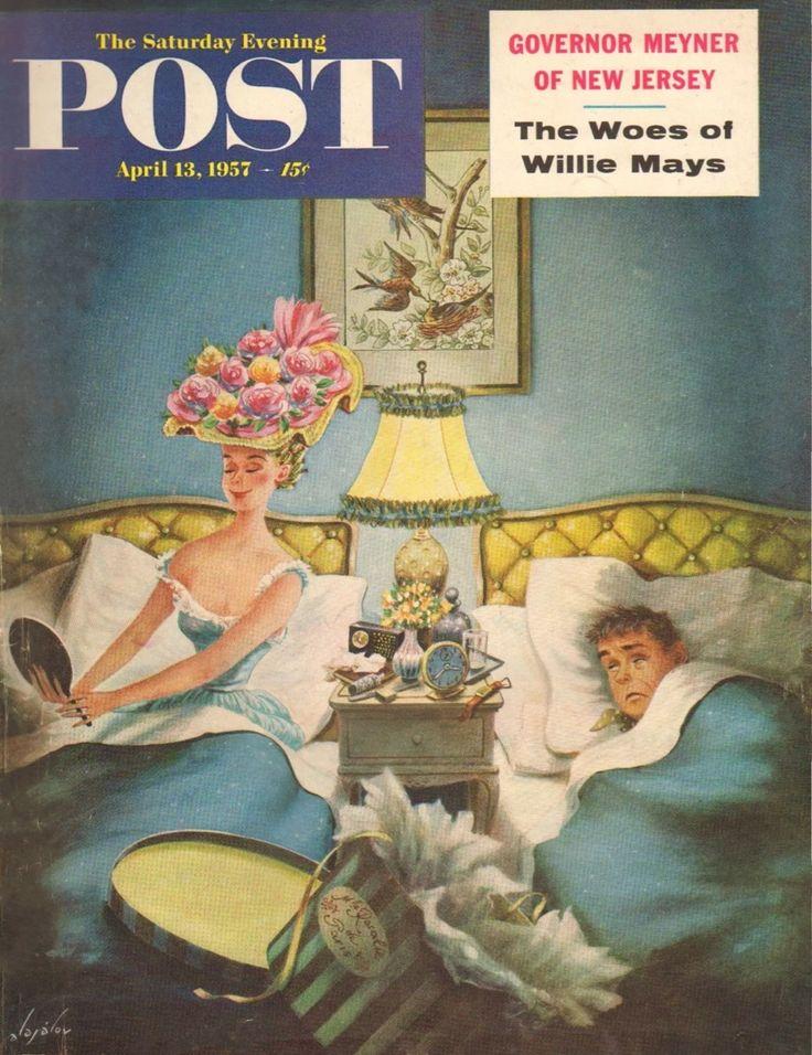 Late Night Hat Check. Saturday Evening Post, April 13, 1957 (Constantin Alajalov)