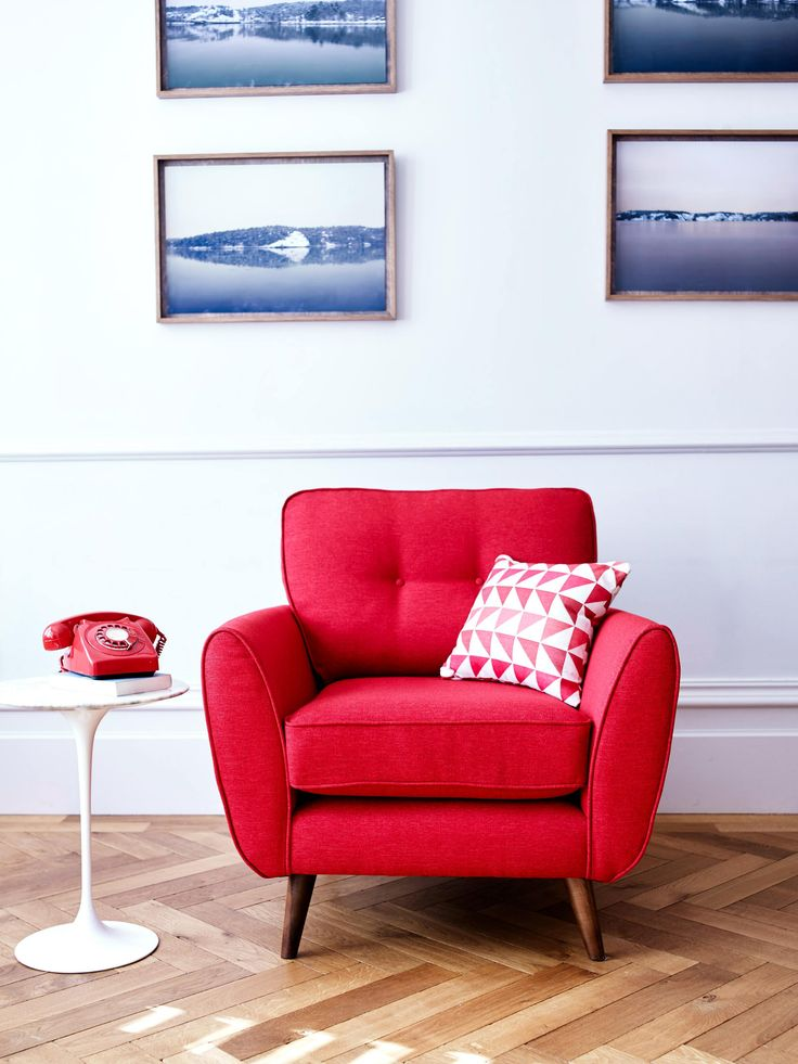 Red armchair.