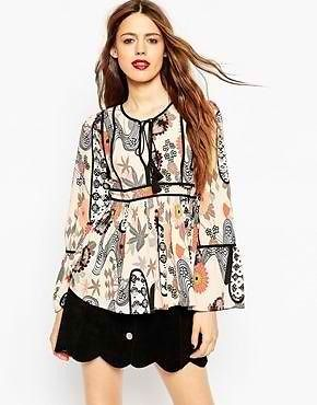 ASOS Printed Contrast Detail Blouse