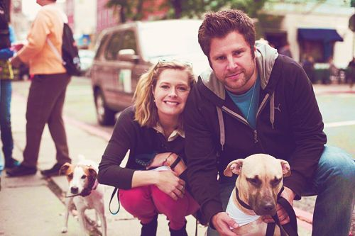 Maggie Lawson and James Roday with their dogs :)
