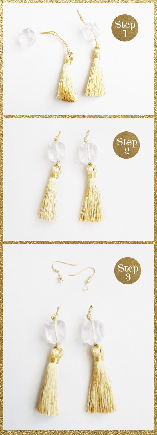 DIY: HOLIDAY TASSEL EARRINGS  Supplies:  - Earwire Hooks  - Any 2 Beads (I used these lucite beads)  - 2 in. Upholstery Tassels (bought from Hobby Lobby with several color options)