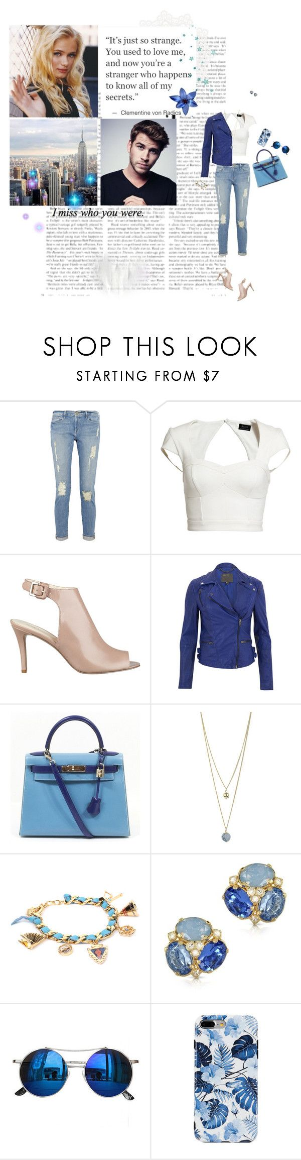 """Everything was blue"" by amber-daylight ❤ liked on Polyvore featuring Frame, Bardot, Nine West, Love Quotes Scarves, MuuBaa, Hermès, Dorothy Perkins, Disney Couture, Forzieri and Chicnova Fashion"