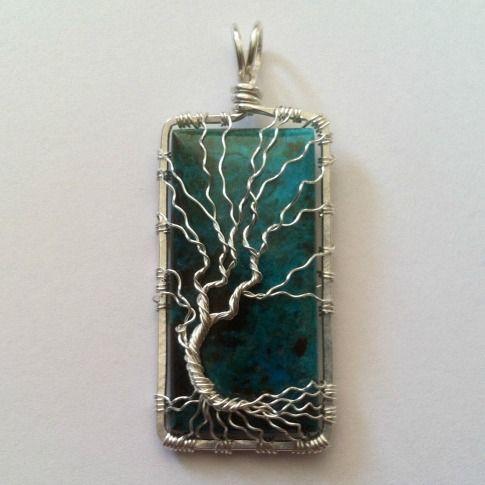 Tree of Life Pendant Wire Wrap Silver over Chrysocolla Gemstone | DesignsinCopper - Jewelry on ArtFire