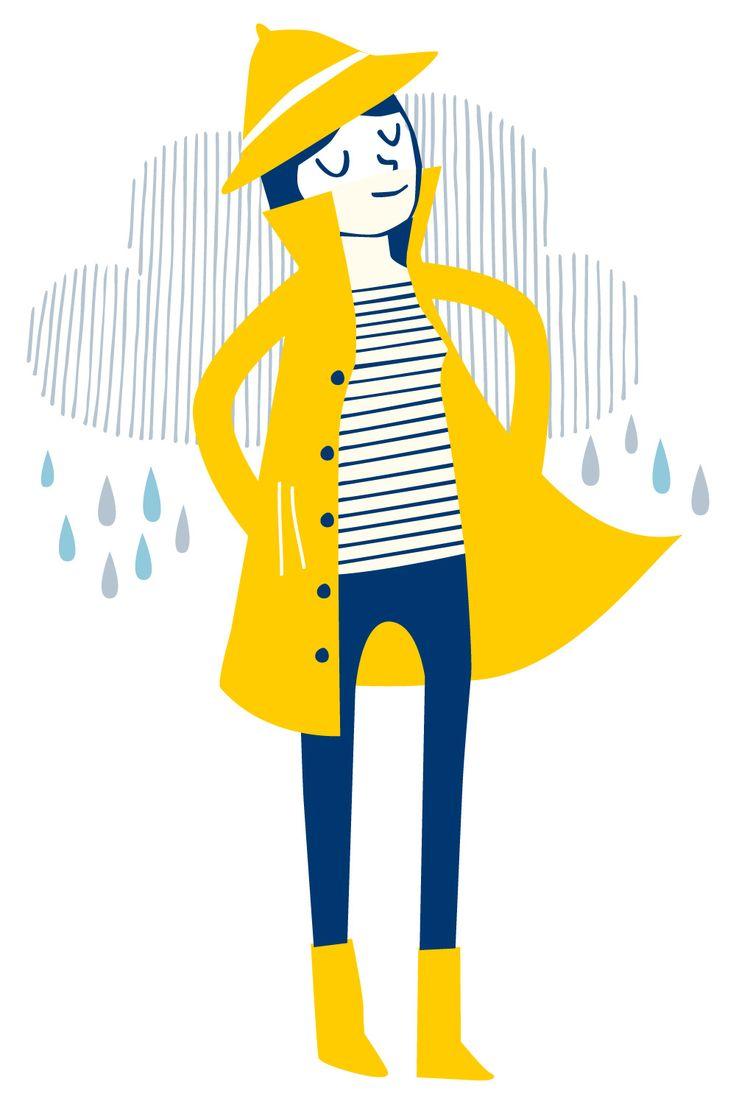 Yellow rain coat illustration by Elly Jahnz for Seasalt Cornwall