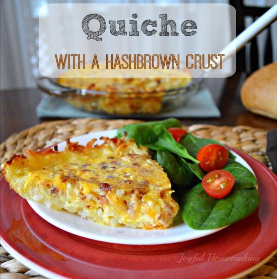 Quiche with a Hashbrown Crust--This quiche has all the breakfast favorites: salty bacon, crunch hashbrowns and creamy eggs!