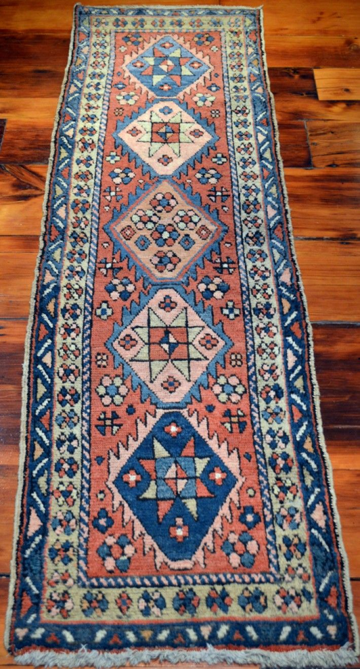 Narrow Vintage Persian Heriz Runner Antique Goravan