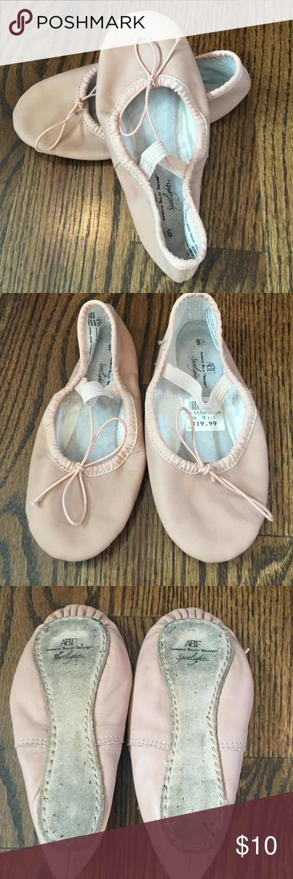 Dusty pink Ballet shoes These shoes are perfect for the twirling little dancer in your house!  Dusty pink in color with elastic closure.  The tag is still intact, but these shoes were worn for one 8 week session of ballet.  The primary wear is to the soles and insoles as shown in the pics 3&4.  The brand reads American Ballet Theatre Spotlights.  They were purchased at Payless Shoe Source.  No rips or scuffs.  Size 9 1/2. American Ballet Theatre Shoes