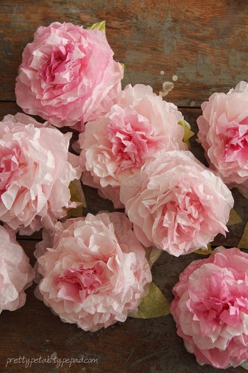 We should ,make a flower garland to decoratethe stairwells and the balcony. Then more flowers for centerpieces? Tutorial ~ make pretty peonies from dyed coffee filters