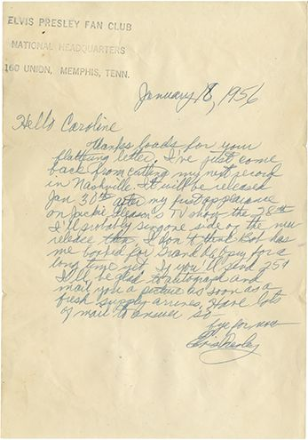 """1956 Elvis Presley handwritten signed letter to a fan. 1-page, 6.25 x 9 in., on """"Elvis Presley Fan Club National Headquarters"""" (Memphis, TN) stamped stationery, dated January 18, 1956, with the original hand-addressed, stamped and canceled transmittal envelope, addressed to """"Miss Caroline Jeannette Helms.  Lot 11  Rock 'n' Roll Auction / December 18, 2013: https://www.profilesinhistory.com/auctions/rock-roll-auction-59-2/"""