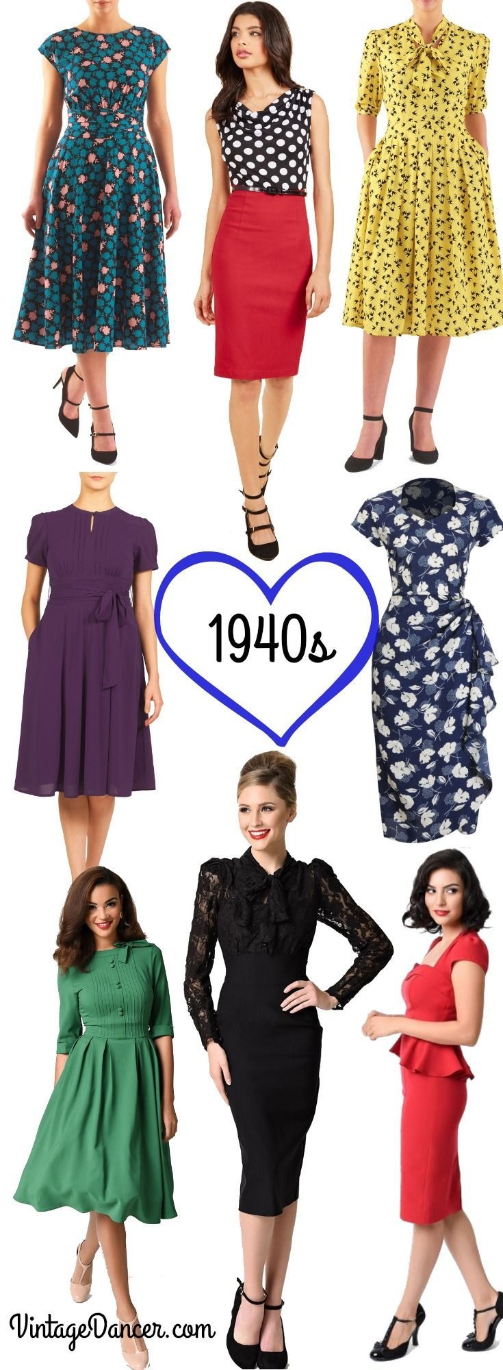1940s dresses. Casual, vintage inspired swing dresses, dance dresses, pinup styles