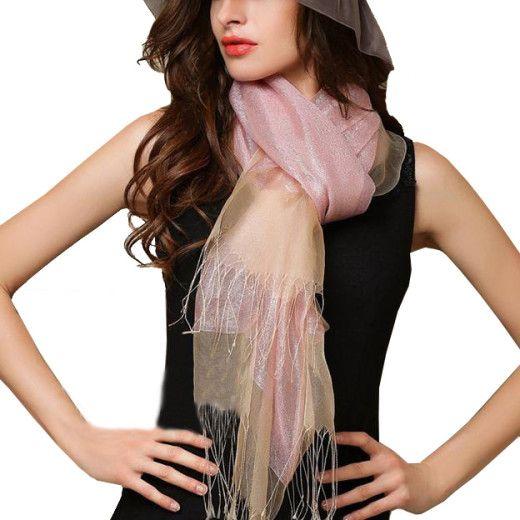 Elegantný ľahký dámsky hodvábny šál - vzor 02