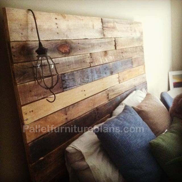 make a headboard from pallets | Headboards Made from Wooden Pallets | Pallet Furniture Plans