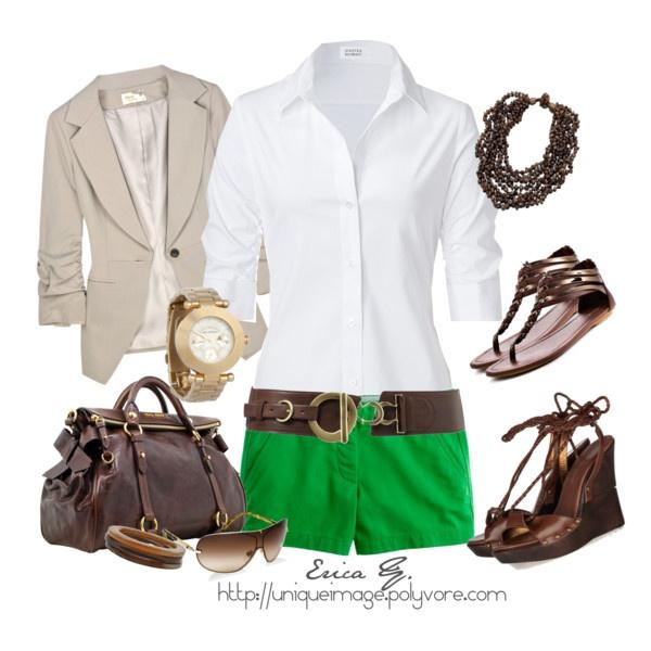 Cute!: Fashion, Style, So Cute, Clothing, Summer Outfits, Green Chino, Chino Shorts, Green Shorts, White Tops