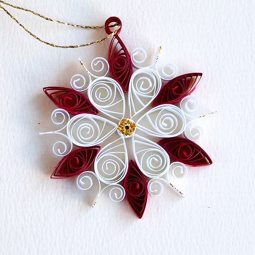 6 point small red and white quilled snowflake with gold glitter | Flickr - Photo Sharing!