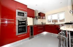 Burgundy and cream gloss kitchen