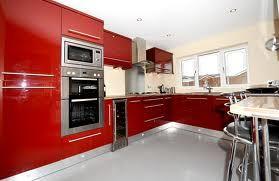 Burgundy and cream gloss kitchen