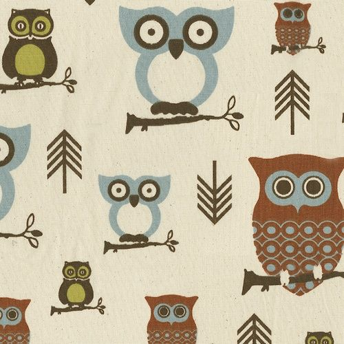 Retro Owls Fabric by the Yard | Owl Fabrics | Carousel Designs  This is what I want for my crib bedding