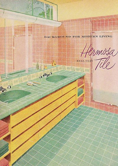 Hermosa Tile in pink and green for that ultimate mid century bathroom.