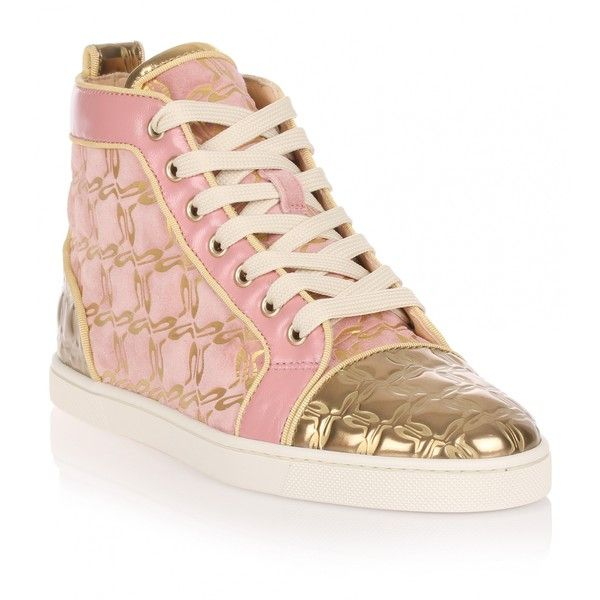 Christian Louboutin Bip Bip pink and gold suede sneaker (7,080 GTQ) ❤ liked on Polyvore featuring shoes, sneakers, christian louboutin sneakers/flats, sapatos, pink, metallic sneakers, pink high tops, metallic high top sneakers, metallic flats and flat shoes