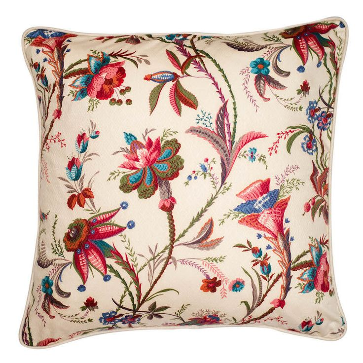 Exotic Blooms Cushion Cover This vintage French fabric is in never before used mint condition! The beautiful cotton print depicts a plethora of exotic ornamental blooms in shades of blue, pink, green and lilac on a textured cream background. The cover 55x55cm is piped and backed in a cream linen cotton blend with a concealed zip closure on one side.  Nest, Stellenbosch