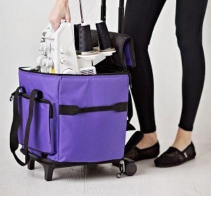 Bluefig STB-M red/purple medium/small spool serger roller bag