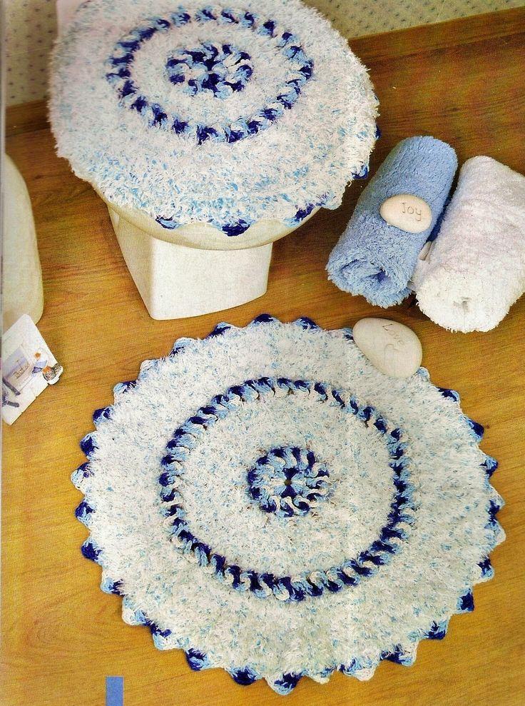 tapetes croche banheiro azul piscina oceano turquesa pavão em croche com receita