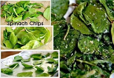 Spinach Chips Toss with olive oil, sprinkle with salt, pepper, garlic ...