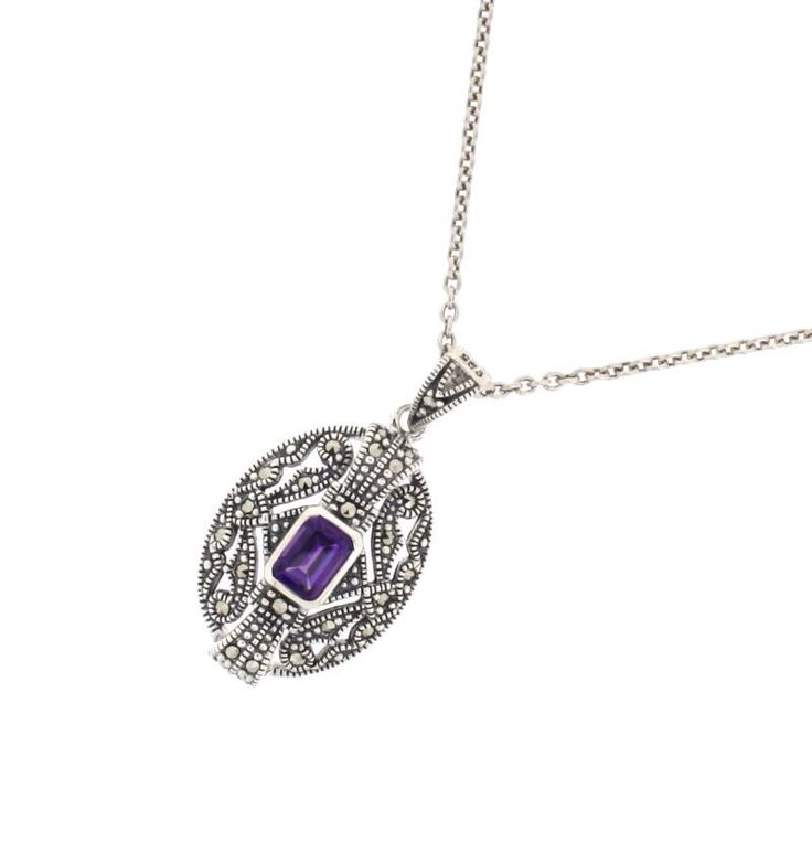 Amethyst Marcasite Necklace