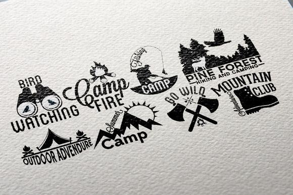Retro Camping Labels by Arys Design on Creative Market
