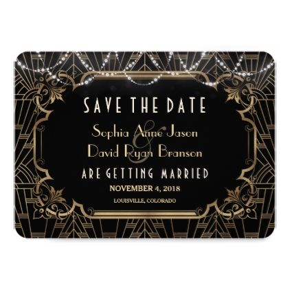 Chic Black Great Gatsby Art Deco 20s Save The Date Card - gold wedding gifts customize marriage diy unique golden